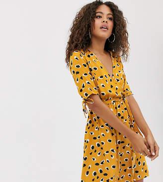 Influence Tall wrap front mini dress in splodge print