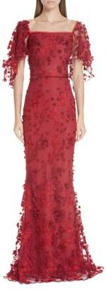Marchesa Flutter Sleeve Embroidered Column Gown
