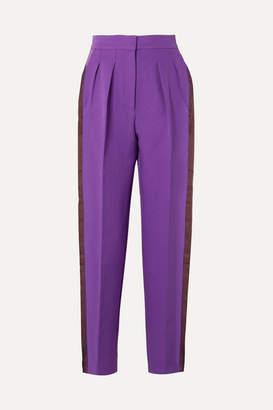 Roksanda Ricciarini Pleated Satin-trimmed Crepe Tapered Pants - Purple