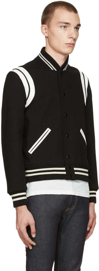Saint Laurent Black Teddy Bomber Jacket 3