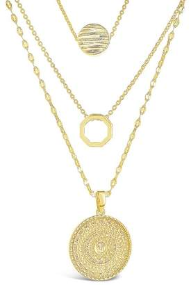 Sterling Forever 14K Gold Plated Textured Disc Layered Chain Necklace