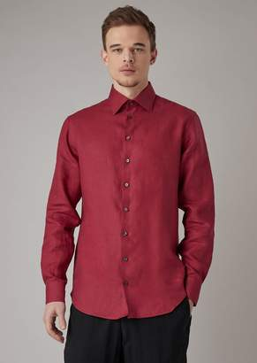 Giorgio Armani Regular-Fit Shirt In Pure Linen