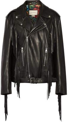 Gucci Fringed Leather Biker Jacket - Black