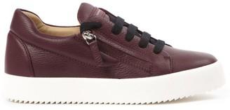 Giuseppe Zanotti Burgundy Leather Addy Sneakers