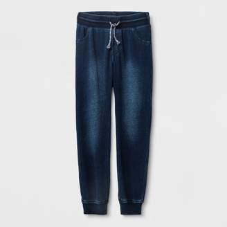 Cat & Jack Boys' Adaptive Knit Dark Wash Denim Jogger Pants Blue