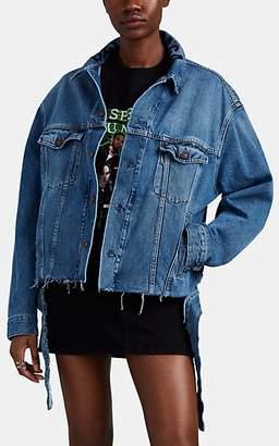 Balenciaga Women's Logo-Embroidered Denim Oversized Jacket - Lt. Blue