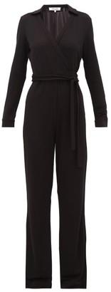 Diane von Furstenberg Aries Wrapped Wide Leg Jumpsuit - Womens - Black