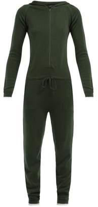 Pepper & Mayne Hooded Wool And Cashmere Blend Jumpsuit - Womens - Dark Green