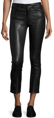 Helmut Lang Skinny Zip-Cuff Leather Leggings, Black