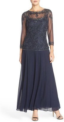 Women's Pisarro Nights Beaded Mesh Mock Two-Piece Gown $218 thestylecure.com