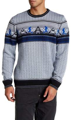 Robert Graham Nordic Jacquard Crew Neck Merino Wool Sweater