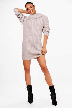boohoo Oversized Soft Knit Cowl Neck Jumper Dress