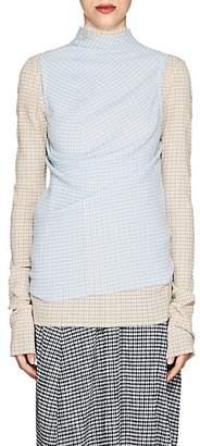 Jil Sander Women's Gingham Sleeveless Top - Blue