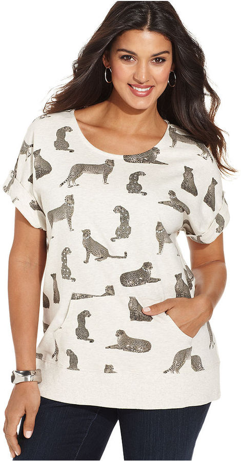 Style&Co. Sport Plus Size Short-Sleeve Cheetah-Print Sweatshirt