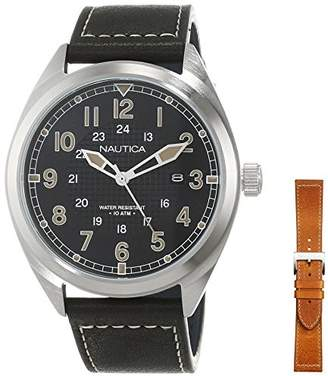 Nautica Men's 'Battery Park Boxset' Quartz Stainless Steel and Leather Casual Watch