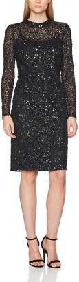 Adrianna Papell Women's Long Sleeve Fully Beaded Short Cocktail Dress