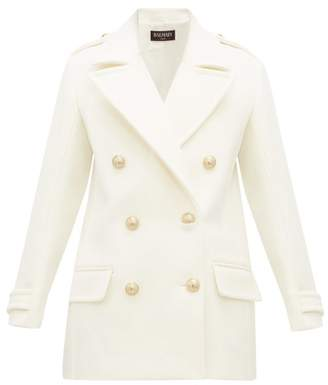 Balmain Double Breasted Wool Felt Pea Coat - Womens - White