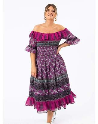 Koko Paisley Bardot Midi Dress