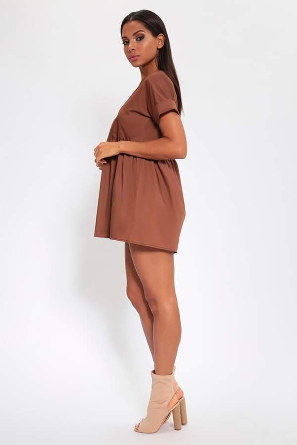 Isawitfirst Chocolate V-Neck Smock Dress