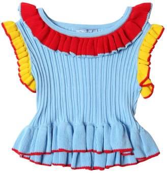 Cotton Rib Knit Sleeveless Sweater