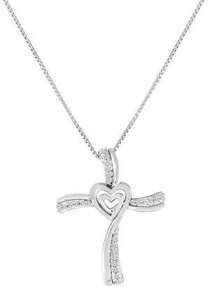 Silver Cross FINE JEWELRY ForeverMine 1/10 CT. T.W. Diamond Sterling Pendant Necklace