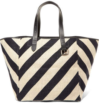 J.W.Anderson Belt Leather-trimmed Striped Linen Tote - White