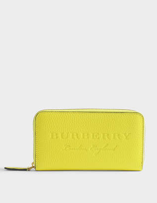 Burberry Zip Around Wallet in Bright Yellow Grained Calfskin