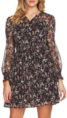 CeCe Abbey Bouquet Fit & Flare Dress