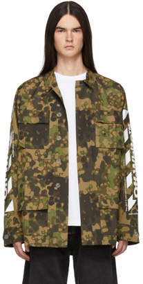 Off-White Green Camouflage Diag Field Jacket