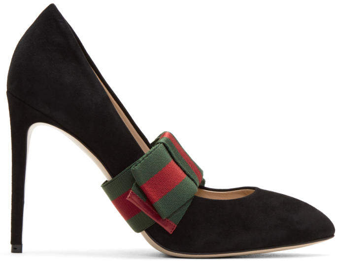 Gucci Black Suede Web Bow Heels