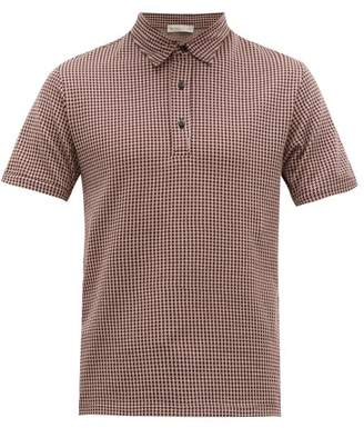 Etro Argyle Patterned Cotton Jersey Polo Shirt - Mens - Burgundy White