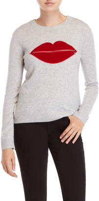 Milly Cashmere Lip Zip Pocket Sweater