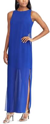 Chaps Petite Georgette Overlay Full-Length Dress