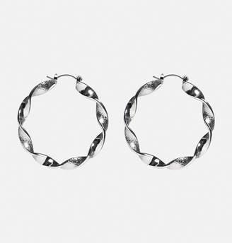 Avenue Twisted Silver Hoop Earrings