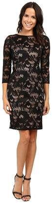 Adrianna Papell Lined Carol Lace Sheath Dress with Jeweled Neckline Women's Dress