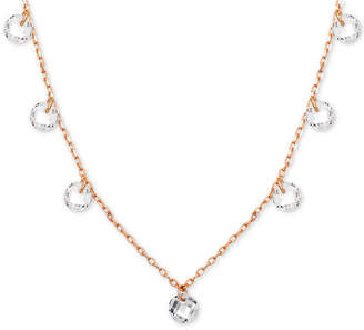 "Giani Bernini Cubic Zirconia Dangle Collar Necklace in 18k Rose Gold-Plated Stainless Steel, 16"" + 2"" extender"