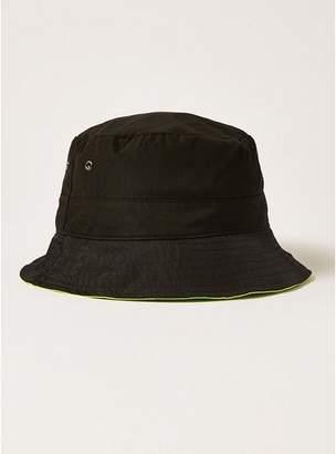 Topman Mens Multi Black And Lime Reverse Bucket Hat