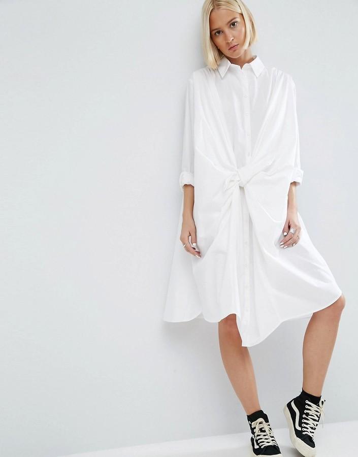 AsosASOS White ASOS WHITE Knot Front Shirt Dress