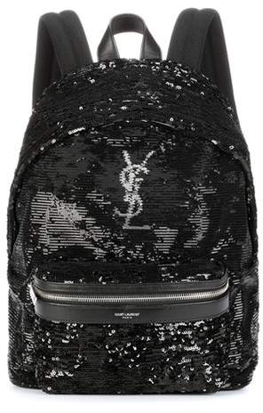 Saint Laurent Mini City sequinned backpack