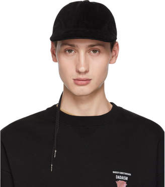 Christian Dada Black Corduroy Back Lace-Up Cap