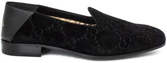 Gucci Black Gg Velvet Loafer.