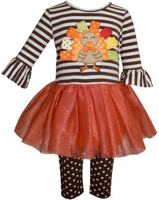 Toddler Girl Blueberi Boulevard Thanksgiving Turkey Tutu Dress & Leggings Set
