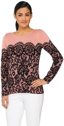 Bob Mackie Bob Mackie's Long Sleeve Printed Lace Pullover Sweater