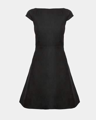Theory Double-Faced Linen Cap-Sleeve Shift Dress
