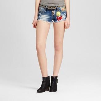 Dollhouse Women's Exposed Button Patch Jean Shorts - Dollhouse (Juniors') $27.99 thestylecure.com