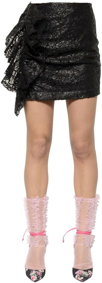 Ruffled Waxed Lace Mini Skirt