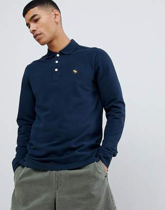 Abercrombie & Fitch icon logo long sleeve stretch slim fit pique polo in navy