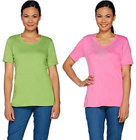 Factory Quacker Set of Two Rhinestone ShortSleeve T-shirts