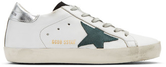 Golden Goose White & Green Superstar Sneakers $405 thestylecure.com