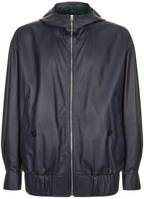 Burberry Leather Hooded Jacket